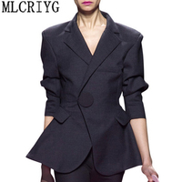 Women Blazer And Jackets 2018 New Fashion Elegant Slim Fit Coats Female Womens Business Suits Office Work Wear Basic Tops LX61