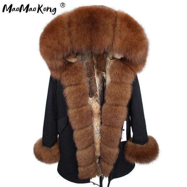 2020 MaoMaoKong 자연 진짜 토끼 모피 라이너 여성 파카 천연 여우 모피 후드 겨울 Jacke 코트 긴 모피 파커 겉옷