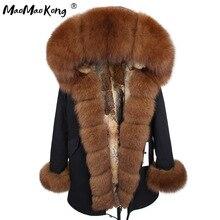 2020 maomaokong natural real pele de coelho forro das mulheres parkas pele de raposa natural com capuz inverno jacke casaco de pele longa parka outerwear
