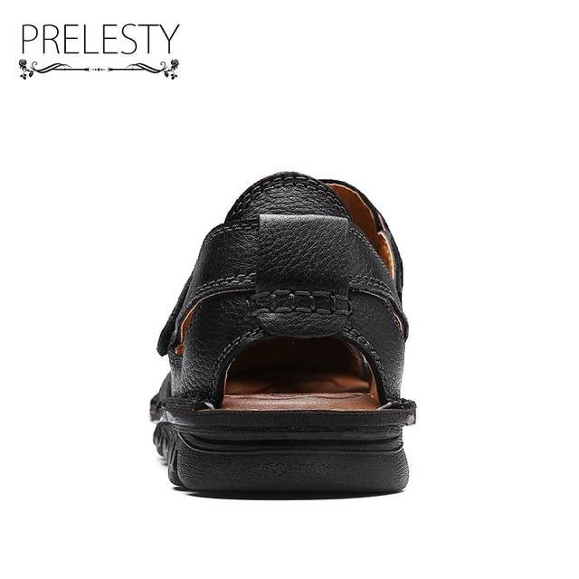 e1b6abdc509dc Prelesty 2018 Summer Mens Leather Sandals Gladiator Casual Strap Beach  Slide Shoes Open Toe Breathable Waterproof