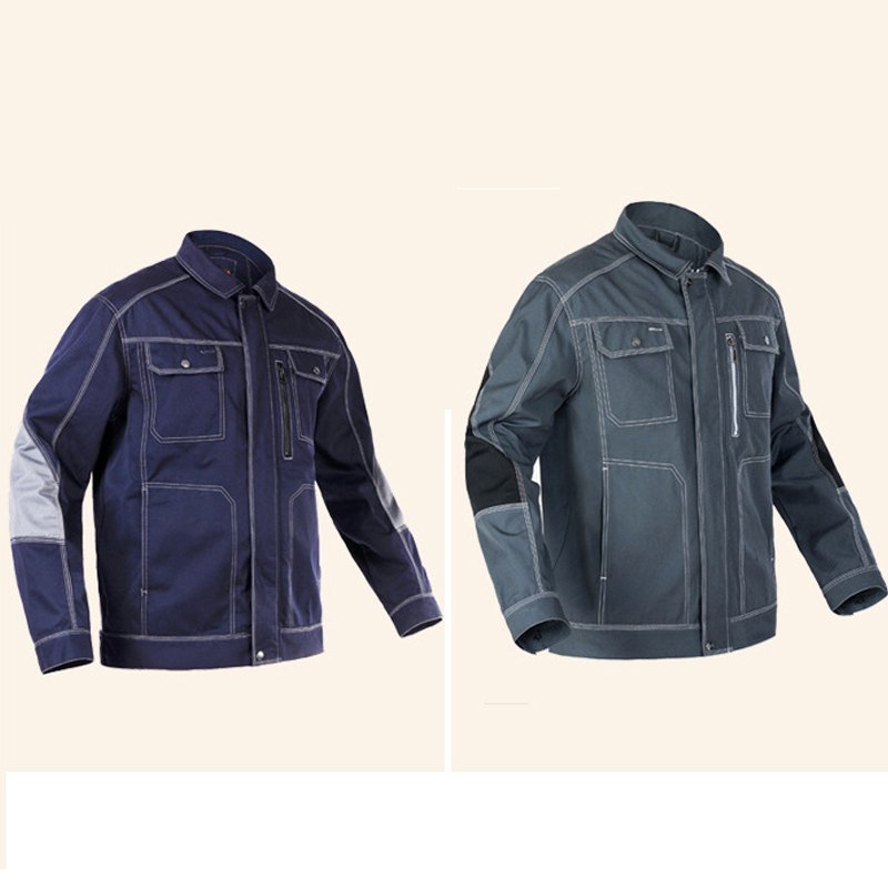 Men Spring Autumn Workwear Jacket Multi pockets Long sleeved Work clothes uniforms Male mechanic construction Working