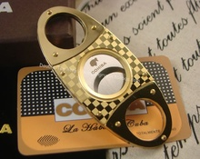 COHIBA Cigar Cutter Pocket Gadgets Zigarre Cutter Knife Cuban Cigars Scissors  Accessories in gift pouch and box