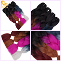 Ombre  kanekalon jumbo braiding hair 24inches synthetic two tone high temperature fiber jumbo braid hair