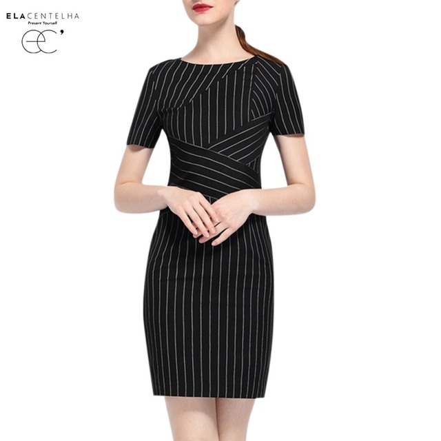 ea576cf11ec4a US $91.99 |ElaCentelha Women Dress Black Striped Office Dresses Women  Summer Short Sleeve Sheath Pencil Dress Ladies Casual Work Dress -in  Dresses ...