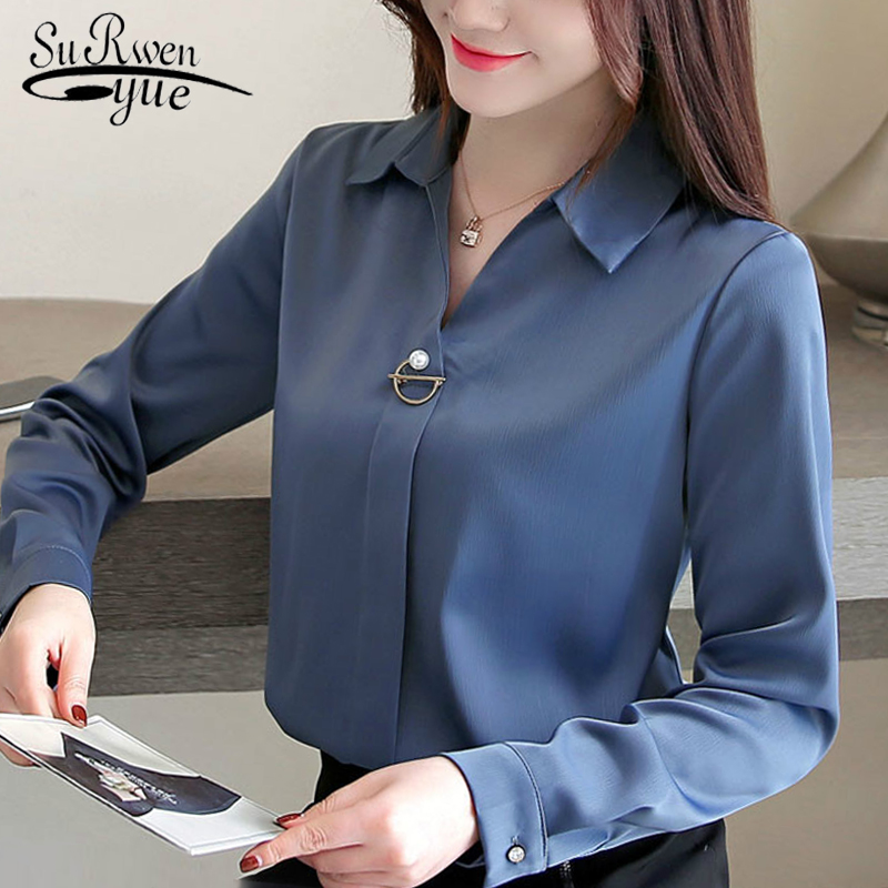 Fashion Woman Blouses 2019 Solid Chiffon Blouse Shirt Long Sleeve Women Shirts Office Blouse Womens Tops And Blouses 1783 50