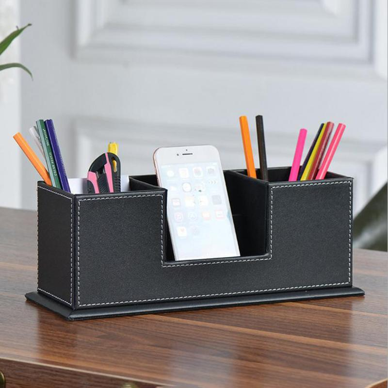 Leather Multi-functional Desktop Pencil Holder Stationery Organizer Storage Pen Box Case Business Cards Holder Office Supplies цена и фото