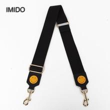 IMIDO marka projekt płótnie pasek na pasek kobiety wymiana pasy pas na ramię torebki akcesoria części z czarnego złota metalowa STP052 tanie tanio Other Canvas Black Blue 95cm-135cm(adjustable)