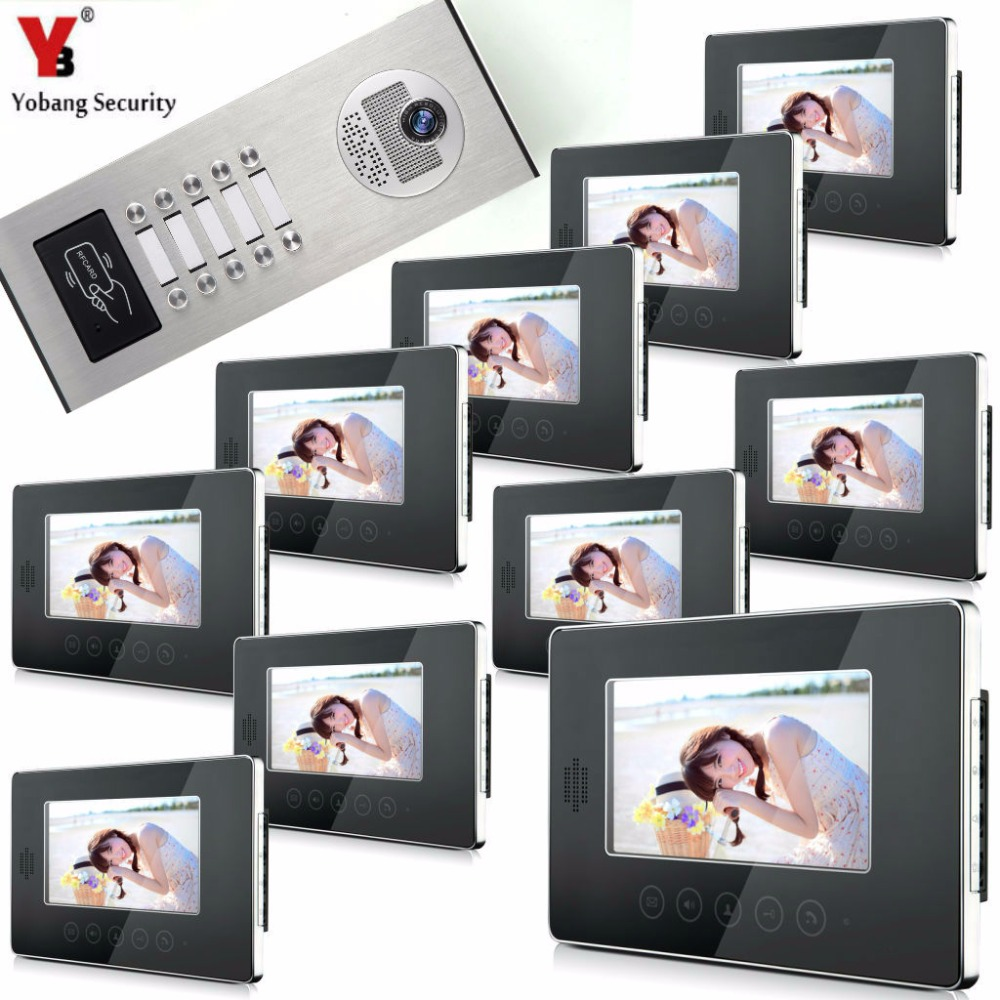 YobangSecurity Video Door Intercom Entry System 7Inch Video Door Phone Doorbell Chime RFID Access Control 1 Camera 10 Monitor 7 inch password id card video door phone home access control system wired video intercome door bell