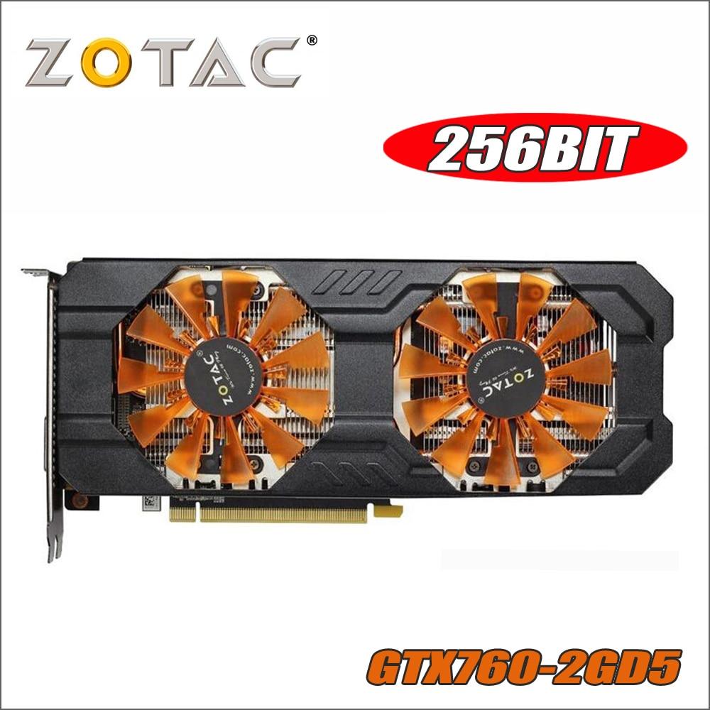 Tarjeta de Video ZOTAC GeForce GTX 760 2 GB 256Bit GDDR5 tarjetas gráficas de nVIDIA GK104 Original GTX760 750 750ti ti 2GD5 Hdmi Dvi