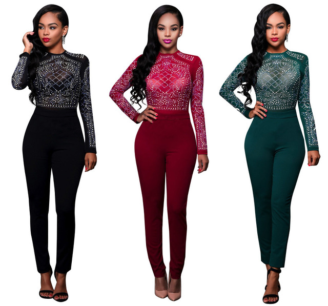 Free Shipping Hot selling fitted style bodysuit women sequin elegant jumpsuit long sleeve bodycon romper women jumpsuit 3 colors