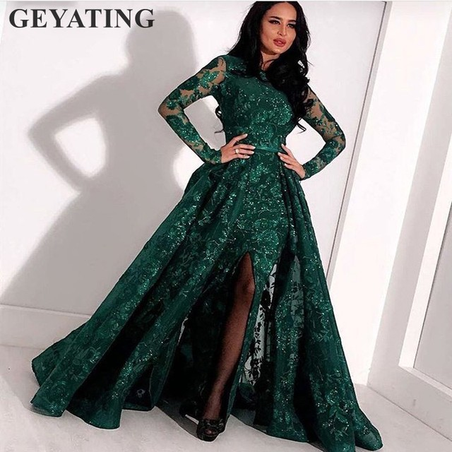 b8c3fd7917a 2019 Emerald Green Long Sleeves Lace Mermaid Arabic Evening Dress  Detachable Skirt Split Kaftan Dubai Prom Formal Evening Gowns