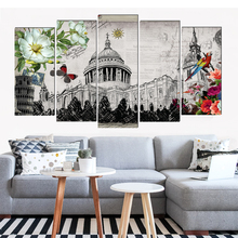 Art deco city view canvas painting modern art prints 5 psc Europe wall pictures for living room bedroom restaurant cafe shop var var city водолазки