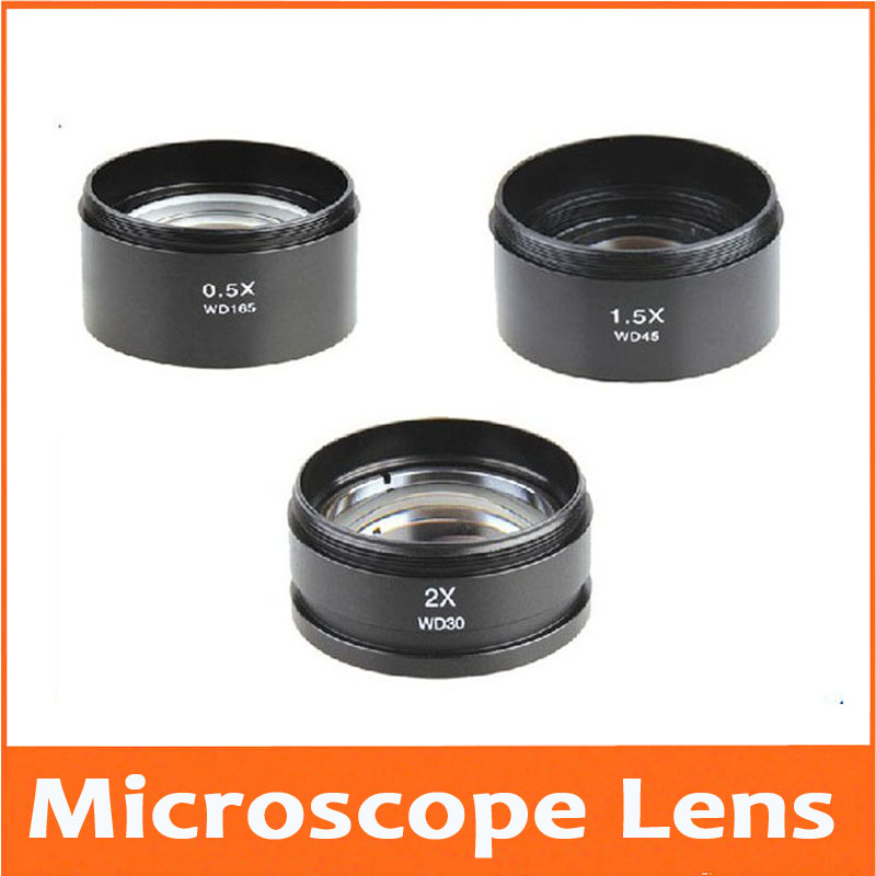0.3X 0.7X 0.75X 0.5X 1X 1.5X 2X Aux Barlow Stereo Microscope Accessories AUX Auxiliary Attachment Objective Lens Glass M48*0.75