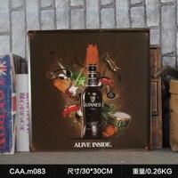 גינס בחיים בתוך קיר מדבקת פוסטר ציור מתכת Vintage גדולות שלט פח רטרו ברזל אמנות קישוט קיר בר קפה 30X30 CM