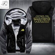 Dropshipping Star Wars Cosplay Winter Autumn Men Zipper Hoodie Fleece Thicken Star Wars Jacket Sweatshirt Coat