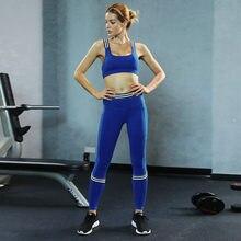 83688e9d53 Azul ropa de entrenamiento para las mujeres Fitness Yoga Set ropa deportiva  gimnasio traje acolchado y apretado Legging chándal .