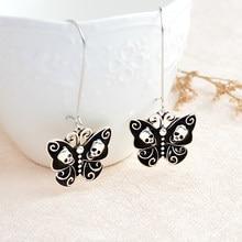 Esqueleto borboleta dark dangle brincos vintage retro preto danglers charme brincos de gota de ouvido feminino jóias presente