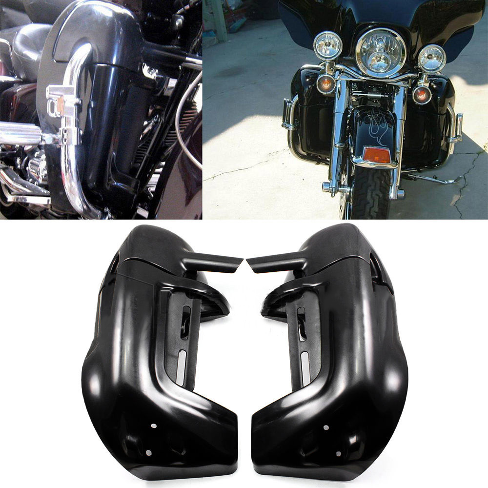 Neverland ABS Plastic Black Motorcycle Lower Vented Fairing Leg Warmer Fairings For Harley Touring Road King Electra Glide D35 цена и фото