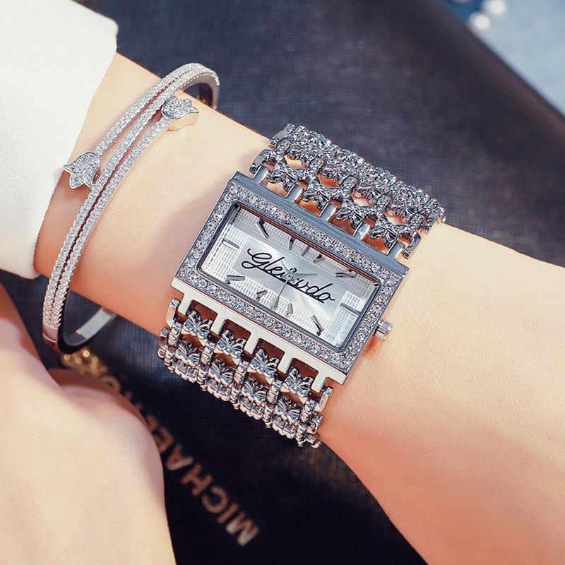 חדש G & D יוקרה מותג נשים של שעונים כסף קוורץ שעוני יד ריינסטון גבירותיי שמלה שעון Relojes Mujer relogio feminino