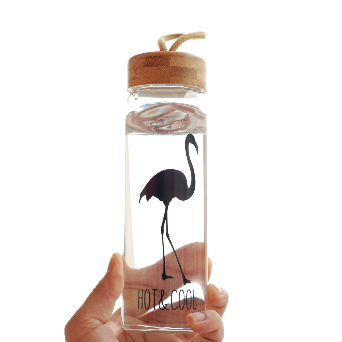 450 Ml Glass Water Bottles With Bamboo Lid Rope Straight Drink Hiking Creative My Bottle Drinkware Clear Brief Portable 1