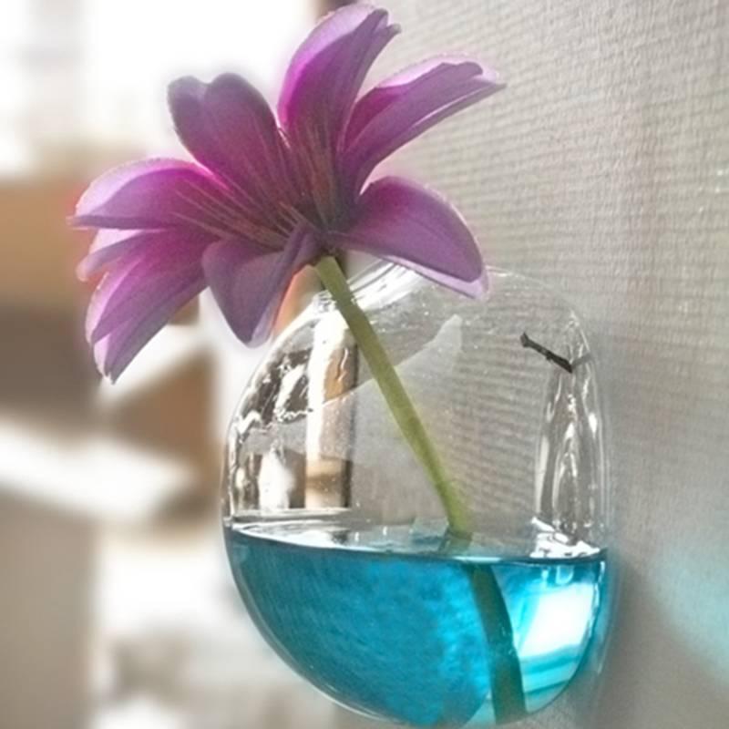 گلدان شیشه ای نیمه دور گلدان گلدان گل - دکور خانه