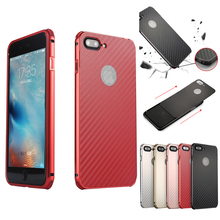 hot deal buy for iphone 7 plus 7+ case aluminum metal frame+carbon fiber hard back cover case for iphone 7 shockproof phone shell for iphone7