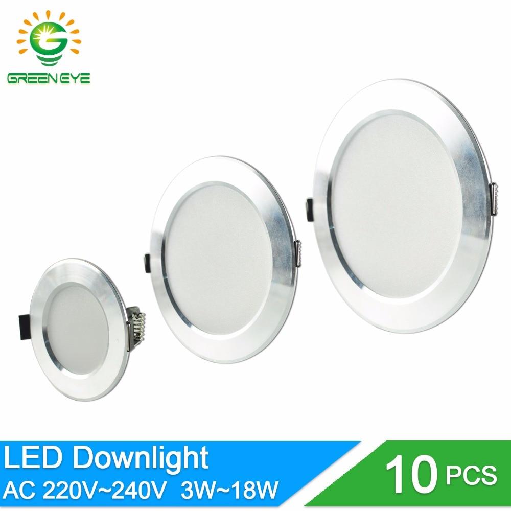 10pcs LED Downlight 3w 5w 7w 9w 12w 18w AC 220V 240V Aluminum Ultrathin downlight Indoor Ceiling Round Recessed Spot Lighting