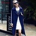 Qunitina 2017 New Fashion Trench Coat For Women Slim Long Style Full Sleeve Elegant Autumn Coat Women