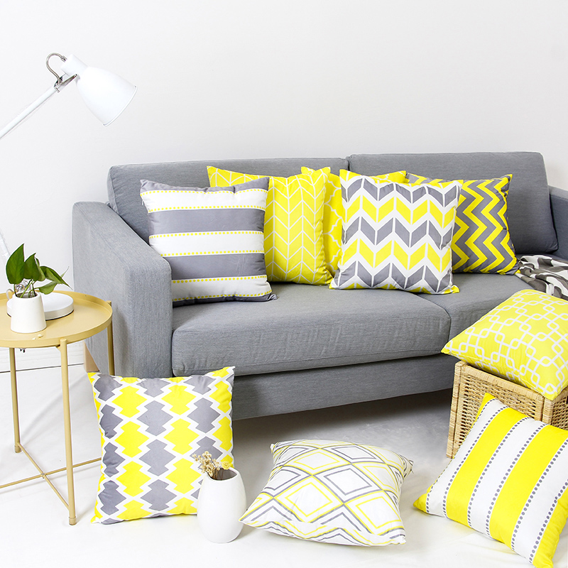 Yellow Grey Geometric Cushion Cover Supersoft Velvet