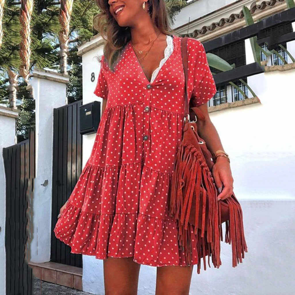 Summer Beach MIni Dress Sexy A Line Dresses Fashion V-Neck Polka Dot Button Short-Sleeved Dress Ladies Ruffle Boho Dresses#5$
