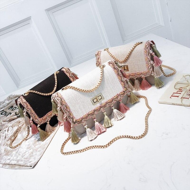SUNNY SHOP Small Shoulder Bag Chain Handbag Women Summer Bag Elegant Female Crossbody Bag Tassel National Designer Boho 42
