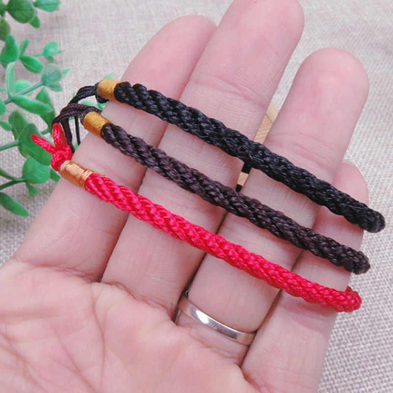 Venda quente 1 pc sipmle trânsito vermelho corda pulseira para mulher homens ajustável talão mão-malha sorte mão corda atacado