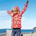 Moda 2016 Nuevas Muchachas Del Bebé Chaqueta de la Capa Del Viento y La Lluvia en Primavera y El Otoño de Impresión Niños prendas de Vestir Exteriores Encapuchada Clothes-F06