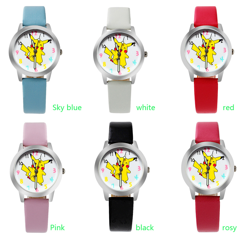New Arrived 6 Colors Classic Fashion Cartoon Pikachu Lovely Leather Gift Wristwatches Student Kids Dress Gift Cute Watches Girl