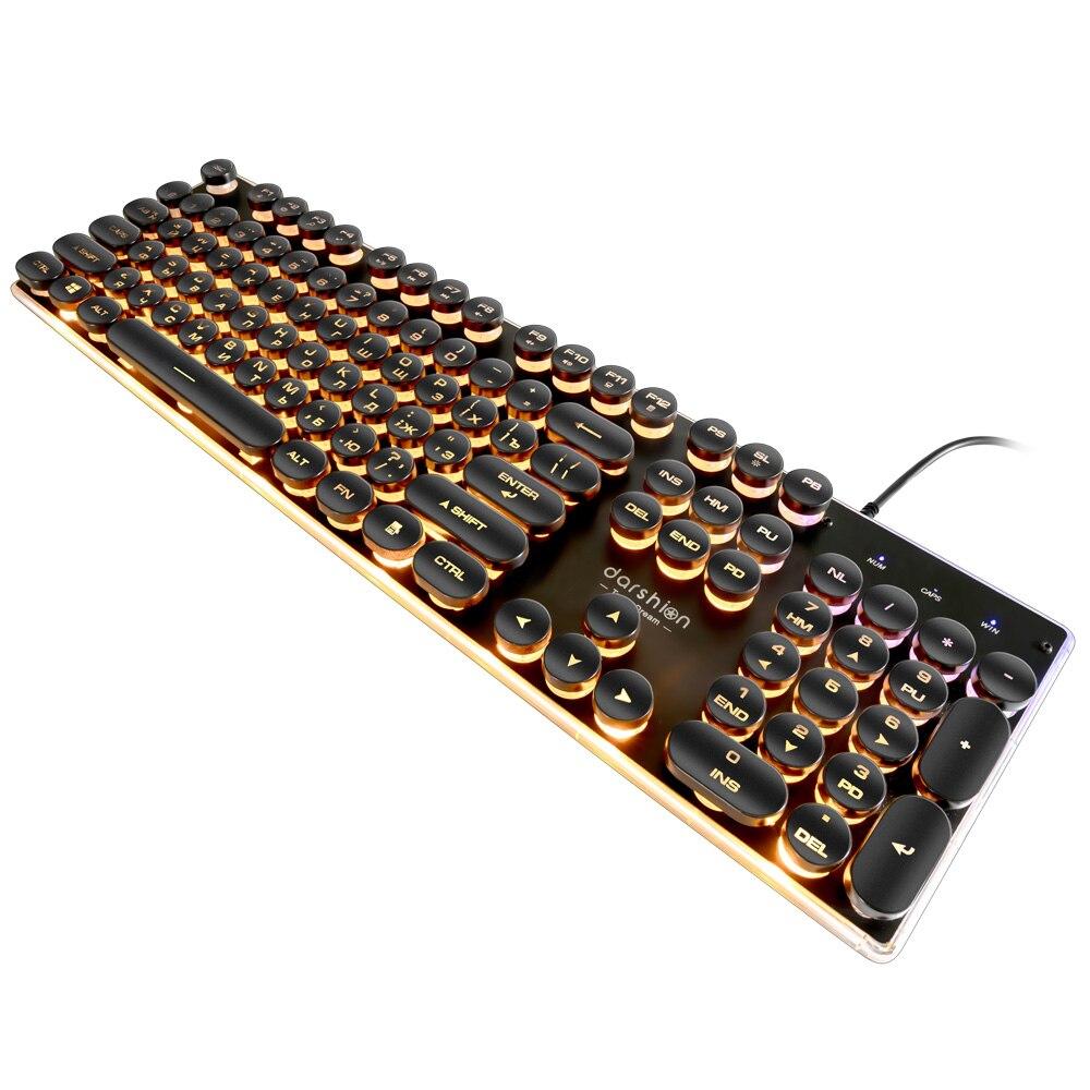 Steampunk Retro juego de teclado ruso/Inglés diseño redondo Keycap retroiluminada cable USB brillante Panel de Metal de cristal de frontera