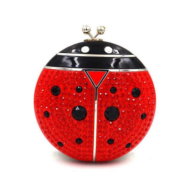 2017 Luxury fashion diamond shape round mini ladybug strawberry party clutch evening bag chain ladies handbag shoulder bag purse