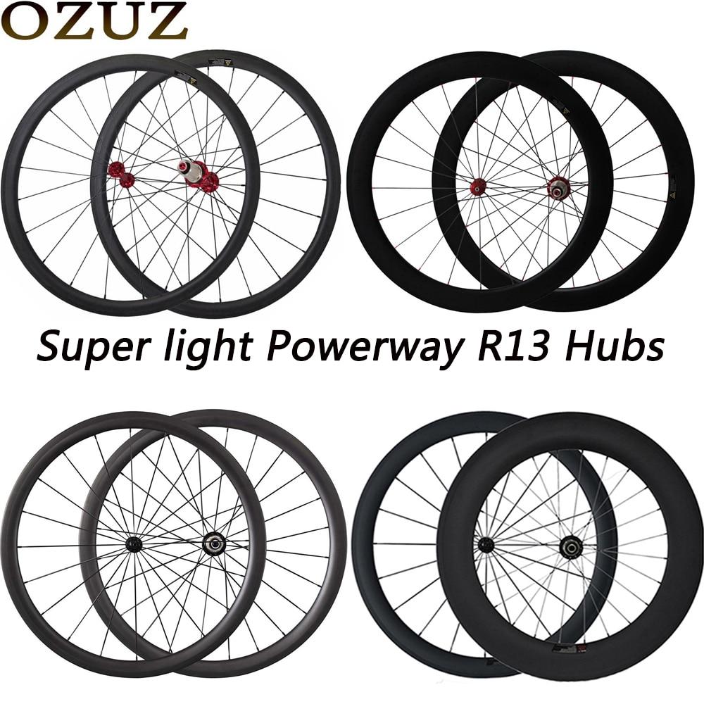 OZUZ Ultra Light Wheels Carbon Fiber Wheels 38mm 50mm Deep Cycling Clincher 700c 3k V Shape