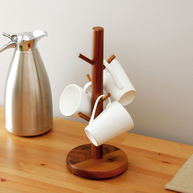 ORZ High Quality Cup Hanger Tree Shape Wood Coffee Tea Cup Storage Holder  Stand Home Kitchen