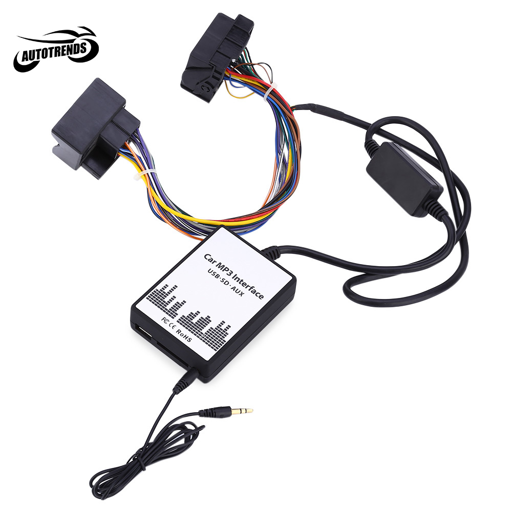 imágenes para Interfaz de MP3 del coche DC 12 V USB SD AUX Adaptador de 40 PINES Cable de Datos de Audio Digital Cambiador de CD para BMW