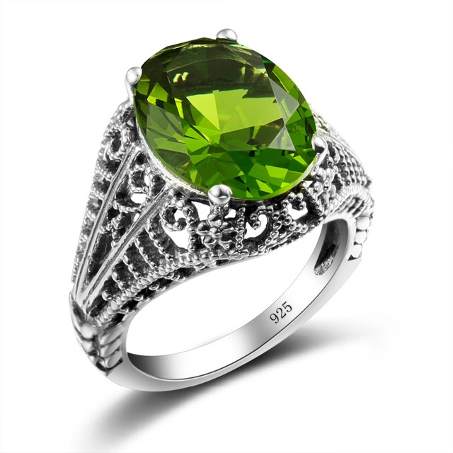 Vintage Wedding Rings for Women Fun Gifts Peridot Green Created Sapphire Ring Cool Pure 925 Sterling Silver Jewelry Wholesale