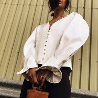 Fashion wild slim one row buckle V neck white shirt puff sleeve womens tops and blouses top women