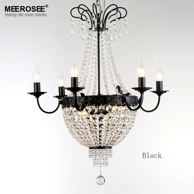 French Empire Crystal Chandelier Light Fixture Vintage Lighting Wrought Iron White Chrome Black Color