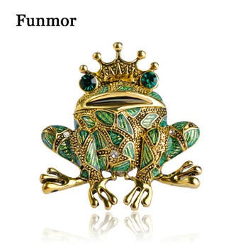 Blucome Enamel Lizard Green Crown Frog Brooches For Women Gold-Color Scarf Clip Pin Dress Bijoux Rhinestone Animal Brooch Pins Переносные часы