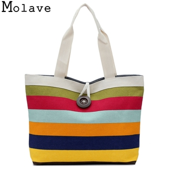 Shopping Striped Shoulder Canvas Bag Simple Handbag