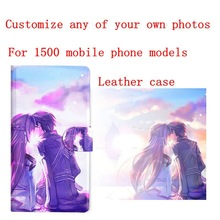 Professional personalized custom cell phone flip cover PU leather case Protective holster diy customize photo pictures