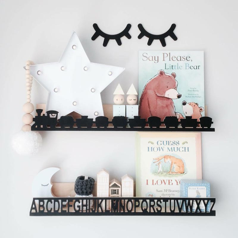 Hot Sale Wooden Train/Bat/Mountain Children Wood Bookshelf Wall ...