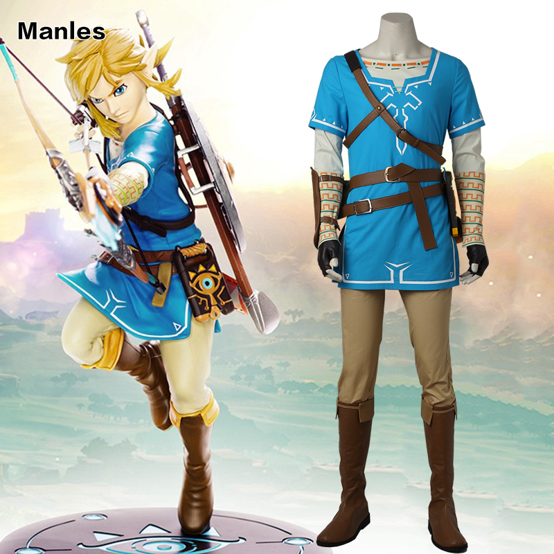 The Legend of Zelda Respiro del Selvaggio Link Cosplay Costume Anime Uniforme di Halloween Carnevale Cosplay Per Gli Adulti Uomini Camicia Blu unisex