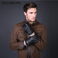 EAGLEBORN New Designer Luxury Mens Gloves High Quality Genuine Leather Mittens Warm Winter Gloves For Fashion