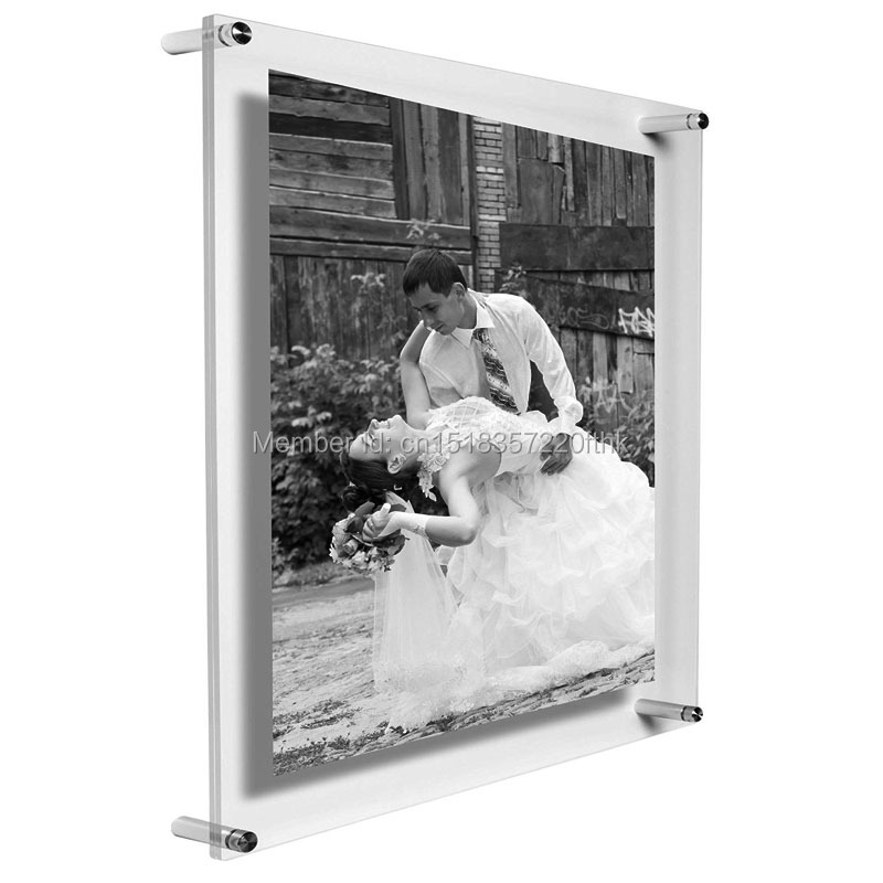 Pack/5units) A3 Wall Mounted Clear Acrylic Photo Rectango Floating ...
