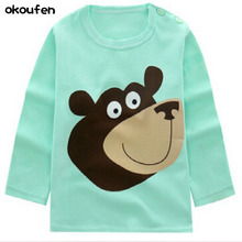 okoufen baby girl and boy clothes t shirt long sleeve kidsT-shirt quality 100% cotton children cartoon clothes tops bobo choses children clothes long sleeve strawberry patten 100